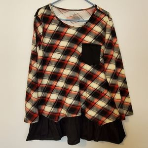 Red Plaid Top With Ruffled Bottom Size XXL